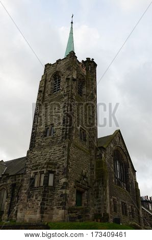 A view of a church tower in Bo'ness