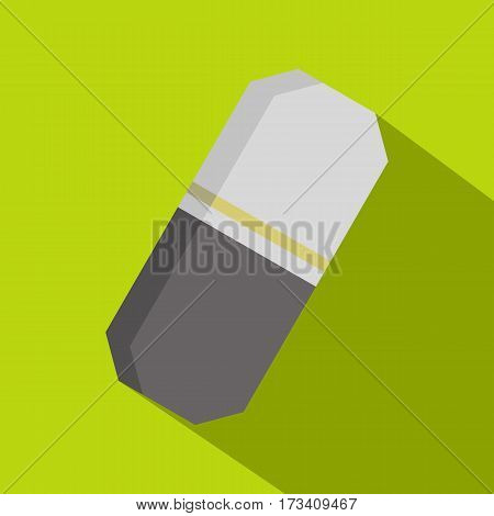 Gray rubber pencil eraser icon. Flat illustration of gray rubber pencil eraser vector icon for web isolated on lime background