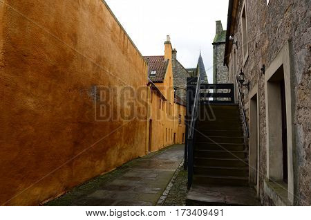 A view down a narrow lane in the medieval area of Bo'Ness