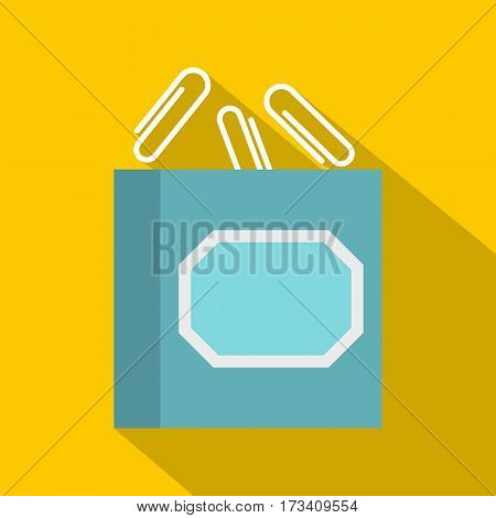 White plastic paper clips in container icon. Flat illustration of white plastic paper clips in container vector icon for web isolated on yellow background