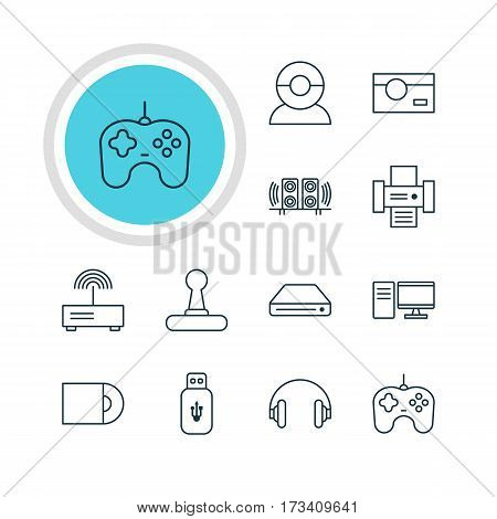 Vector Illustration Of 12 Accessory Icons. Editable Pack Of Game Controller, Joypad, Photocopier And Other Elements.