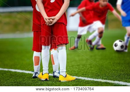 Youth Football Soccer Background. Football Soccer Match for Children. Kids Playing Soccer Game Tournament. Boys Running and Kicking Football. Youth Soccer Footballers Competition