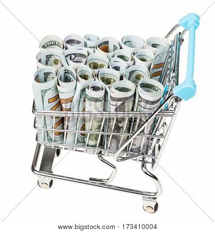 Supermarket Trolley With Dollar Banknotes Isolated