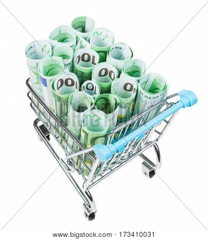 Shopping Trolley With Euro Banknotes Isolated