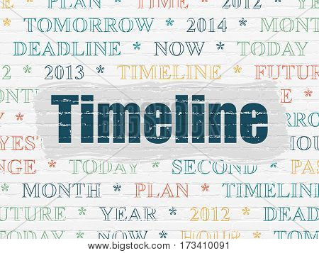 Timeline concept: Painted blue text Timeline on White Brick wall background with  Tag Cloud