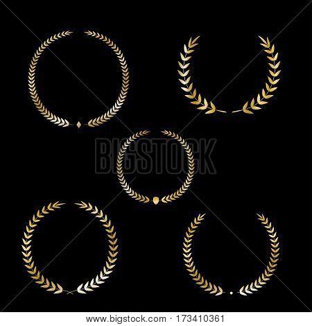 Best award Vector gold award laurel wreath set. Winner label, leaf symbol victory, triumph and success illustration collection.
