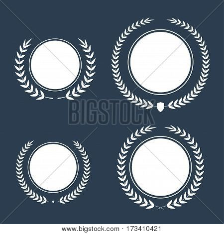 Best award Vector gold award laurel wreath set. Winner label, leaf symbol victory, triumph and success illustration collection.