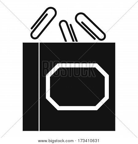 Paper clips box icon. Simple illustration of paper clips box vector icon for web