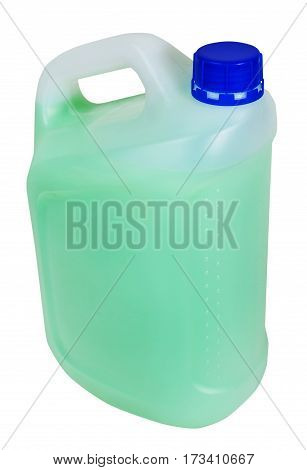 Jerrican With Green Liquid Isolated On White