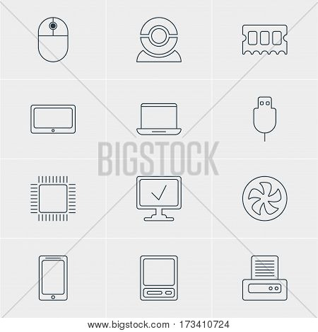 Vector Illustration Of 12 Notebook Icons. Editable Pack Of Cursor Manipulator, Printer, Online Computer And Other Elements.