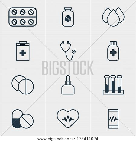 Vector Illustration Of 12 Medical Icons. Editable Pack Of Aspirin, Medicament Pitcher, Exigency And Other Elements.