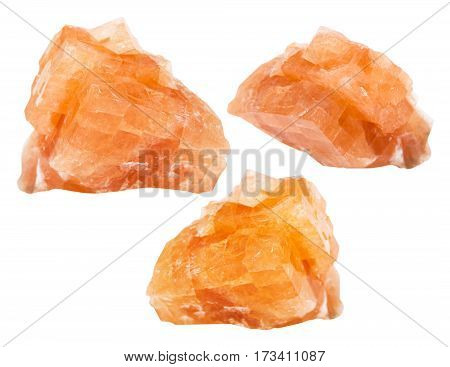 Set From Chabazite Mineral Stones Isolated