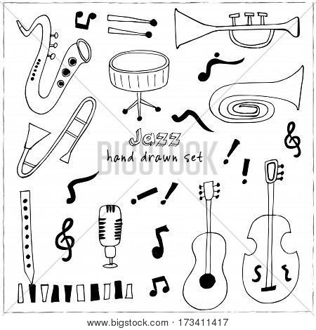 Jazz musical instruments set isolated vector illustration