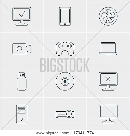 Vector Illustration Of 12 Notebook Icons. Editable Pack Of Gamepad, Presentation, Access Denied And Other Elements.