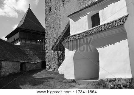 Black and White. Fortified medieval saxon church in the village Viscri, Transylvania.