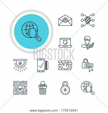 Vector Illustration Of 12 Internet Security Icons. Editable Pack Of Safe Lock, Camera, Corrupted Mail And Other Elements.