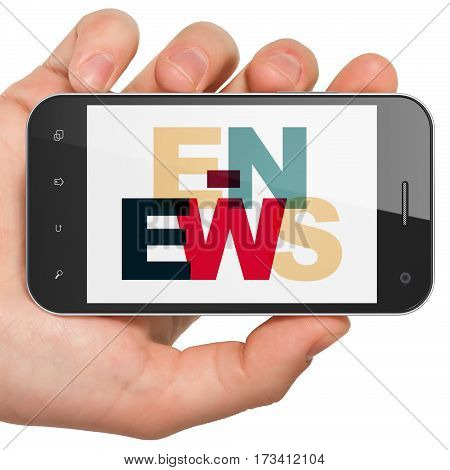News concept: Hand Holding Smartphone with Painted multicolor text E-news on display, 3D rendering
