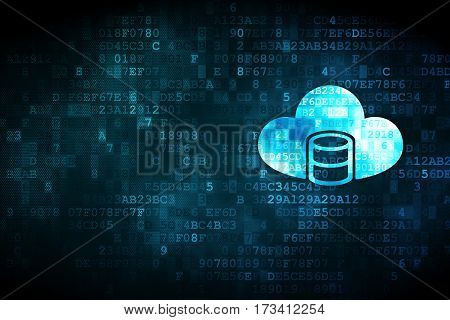 Cloud technology concept: pixelated Database With Cloud icon on digital background, empty copyspace for card, text, advertising
