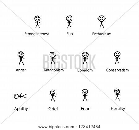 Smiles emotions. A set of hand drawing sketch men. Emotional Tone Scale. Vector illustration on isolated background.