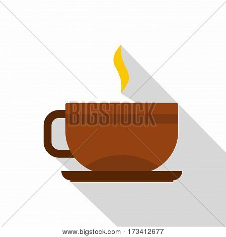 Brown tea cup and saucer icon. Flat illustration of brown tea cup and saucer vector icon for web isolated on white background