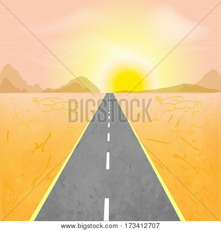 Road in the desert vector illustration. Sunset with mountains in desert.