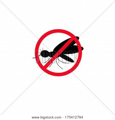 No mosquitoes. The black silhouette of a mosquito. Vector illustration isolated on background.