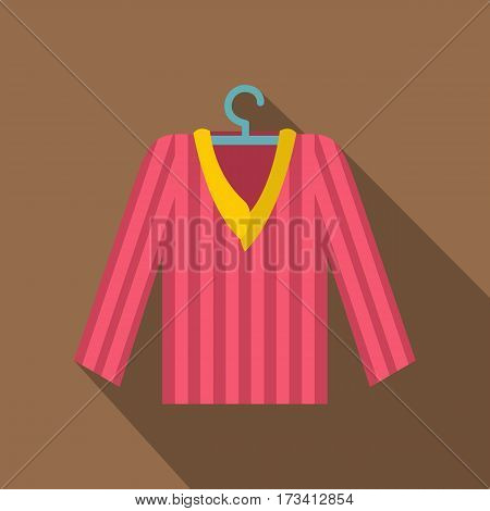 Pink striped pajama shirt icon. Flat illustration of pink striped pajama shirt vector icon for web isolated on coffee background