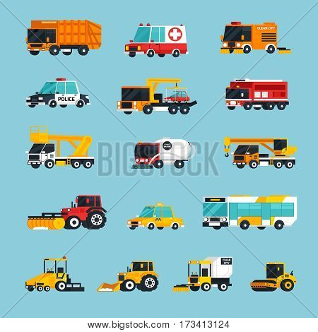 Special and emergency transport flat colored icons set with vehicles used  for professional service on city streets vector illustration