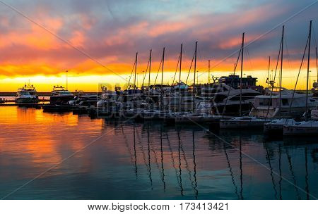 Sochi, Russia - February 18, 2017: Sea port ships and yachts