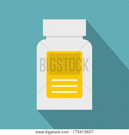 Pharmaceuticals bottle icon. Flat illustration of pharmaceuticals bottle vector icon for web isolated on baby blue background