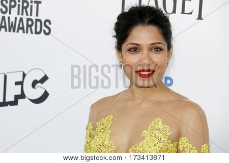 Freida Pinto at the 2017 Film Independent Spirit Awards held at the Santa Monica Pier in Santa Monica, USA on February 25, 2017.