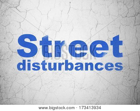 Political concept: Blue Street Disturbances on textured concrete wall background