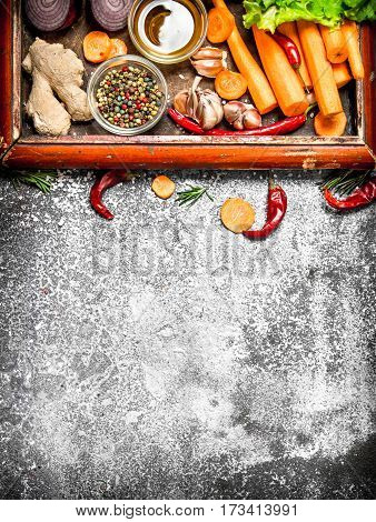 Fresh Vegetables . Fresh Vegetables And Herbs In The Old Tray. On Rustic Background.