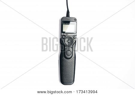 Remote control shutter switch of dslr camera on isolate white background.