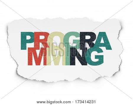 Software concept: Painted multicolor text Programming on Torn Paper background