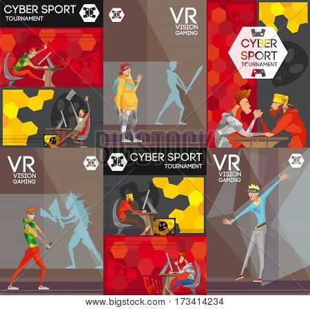 Esport vr competitive video games 6 flat colorful banners with professional cybersport players  poster isolated vector illustration