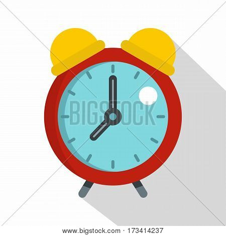 Red alarm clock icon. Flat illustration of red alarm clock vector icon for web isolated on white background