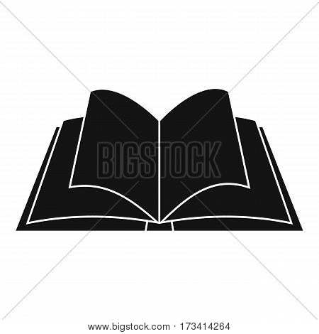 Opened book with pages fluttering icon. Simple illustration of opened book with pages fluttering vector icon for web