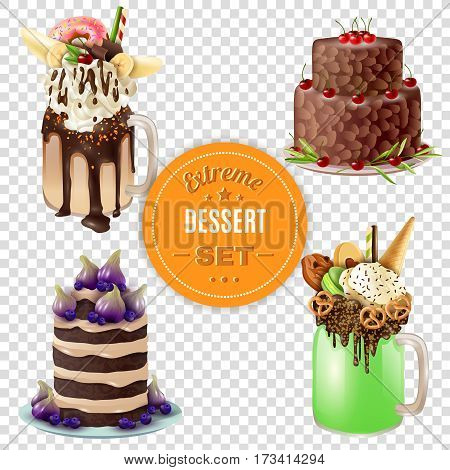 Super sweet and rich 4 festive combo extreme desserts set with freakshake on transparent background vector illustration
