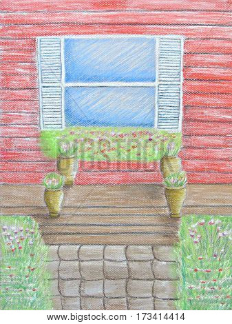 in front window porch garden with potteries pastels