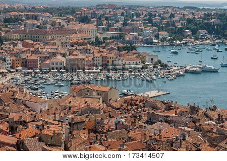 Panorama of Rovinj. The view from the bell tower of the church of St. Euphemia