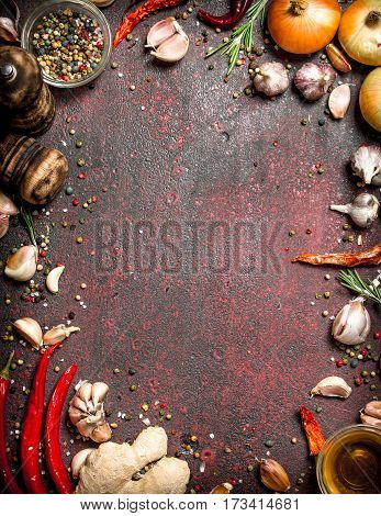 Fresh Spices. Frame From A Variety Of Aromatic Spices. On Rustic Background.