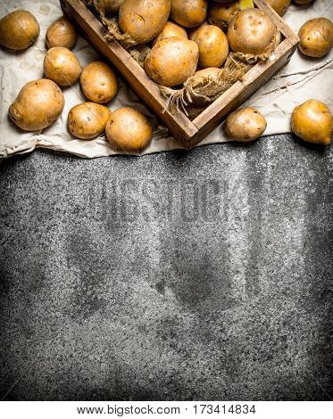 Fresh Potatoes In An Old Wooden Box. On Rustic Background.