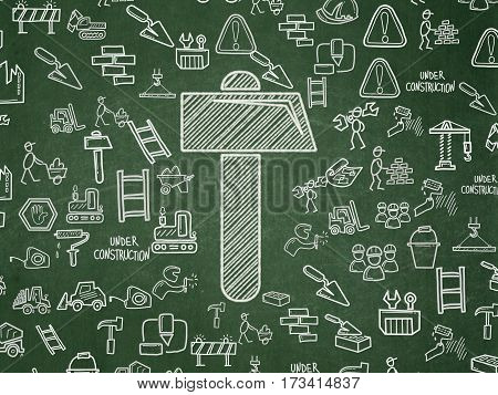 Constructing concept: Chalk White Hammer icon on School board background with  Hand Drawn Construction Icons, School Board