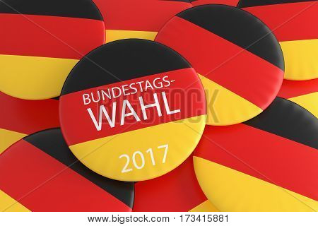 German Election Concept: Pile With Bundestag Election 2017 Button In German Language With Germany Flag 3d illustration