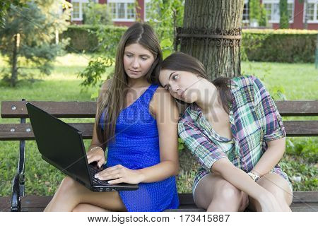 Two business women in the park to buy a laptop online Selective focus and small depth of field