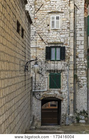SIBENIK, CROATIA - SEPTEMBER 9, 2016: This is one of the lanes of the old medieval city.