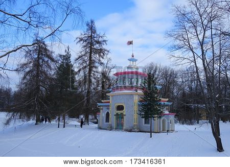 Winter day and creaky pavilion in Catherine park in Tsarskoye Selo