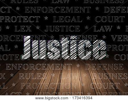 Law concept: Glowing text Justice in grunge dark room with Wooden Floor, black background with  Tag Cloud