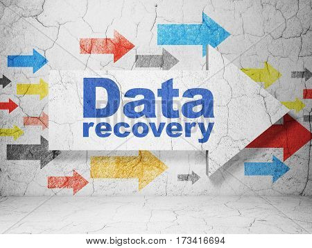 Data concept:  arrow with Data Recovery on grunge textured concrete wall background, 3D rendering